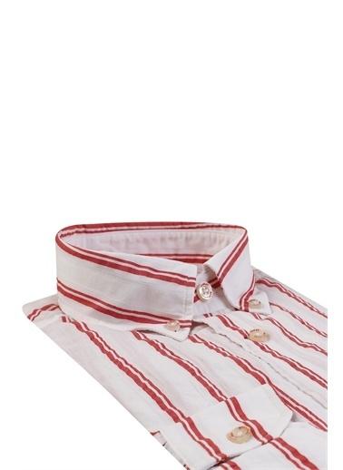Damat Comfort Çizgili Gömlek Kırmızı